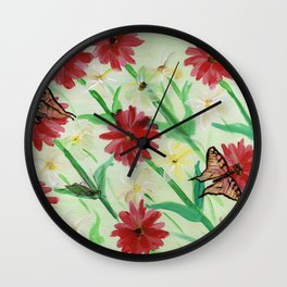 Daisies Butterflies Katydid Red Green and White Wall Clock
