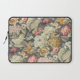 Gray Gold White Rose Pattern Laptop Sleeve