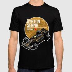 Ayrton Senna - 1985 Estoril Mens Fitted Tee MEDIUM Black