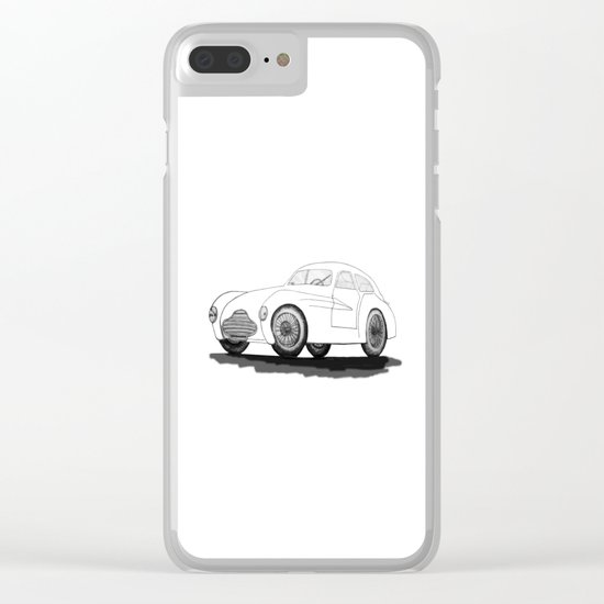 retro car on white background Clear iPhone Case