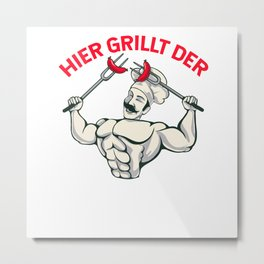 Funny barbecue grill grill master grilling gift dad Metal Print