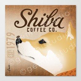 Shiba Inu Coffee Company dog artwork by Stephen Fowler Canvas Print