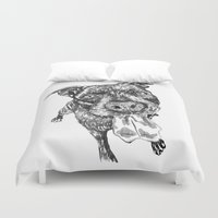 pit bull Duvet Covers featuring Rocky the pit bull and his amazing tongue by Jenn Steffey