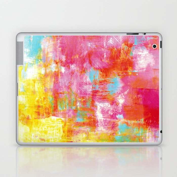 21286fd0abd18 OFF THE GRID 2 Colorful Pink Pastel Neon Abstract Watercolor Acrylic  Textural Art Painting Rainbow Laptop & iPad Skin by ebiemporium