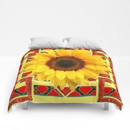 WESTERN RED ART DECO YELLOW SUNFLOWER ART Comforters