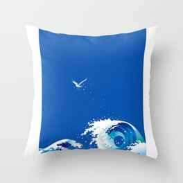 Wave roughly awaits for the lonely expansive morning Throw Pillow