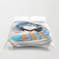iwatobi Duvet Covers featuring Free! Iwatobi Swim Club Haruka by Mistiqarts