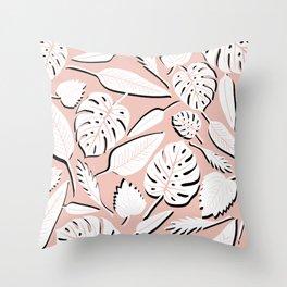 Filodendros white & pink Throw Pillow