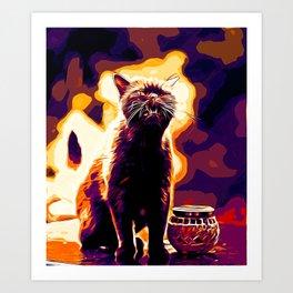 british shorthair cat ready to attack vector art late sunset Art Print