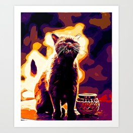 british shorthair cat ready to attack vector art late sunset Art Print