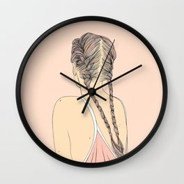 Pretty In Pink Pigtails Wall Clock