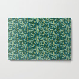 Dark Yellow Tiger Stripes Pattern on Sherwin Williams Trending Colors of 2019 Oceanside Dark Aqua Blue SW 6496 Turquoise Metal Print