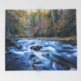 Fall in the Smokies - Autumn Colors at Laurel Creek in Smoky Mountains Throw Blanket