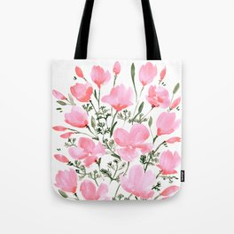 Pink watercolor poppies Tote Bag