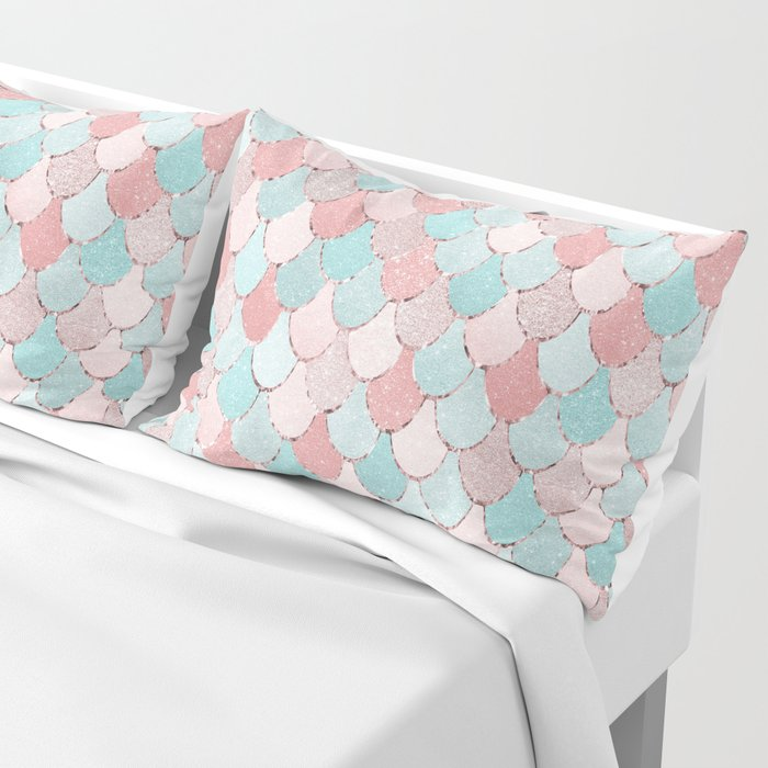 Mermaid Coral, Rose Gold, Pastel Pink, Aqua and Teal, Cute Colorful Pattern Pillow Sham