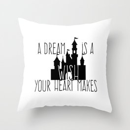 A Dream is A Wish Your Heart Makes Fantasy Princess Castle Throw Pillow