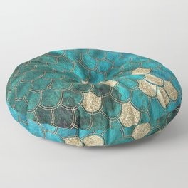 Multicolor Aqua And Gold Mermaid Scales -  Beautiful Abstract Pattern Floor Pillow