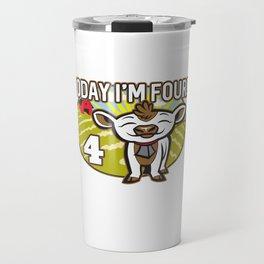 Kid's 4th Birthday Today I'm Four! Cute Cow Travel Mug