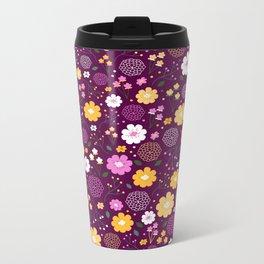 Violet Floral Metal Travel Mug