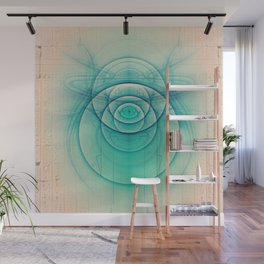 Egyptian Turquoise Scarab on Beige Sandstone Glyphs Wall Mural
