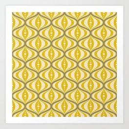 Retro Mid-Century Saucer Pattern in Yellow, Gray, Cream Art Print