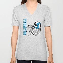 Volleyball Sport Game - Net - Baby Blue Unisex V-Neck