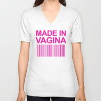 vagina V-neck T-shirts featuring MADE IN VAGINA BABY FUNNY BARCODE (Baby Girl Pink) by CreativeAngel