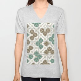 Geometric Octagon and Square Shapes Line Art Jade Green Tobacco Brown Beige Gray Unisex V-Neck