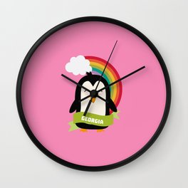 Penguin Rainbow from Georgia  T-Shirt for all Ages Wall Clock