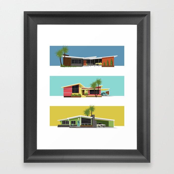 Mid Century Modern Houses 2 Gerahmter Kunstdruck