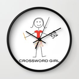 Funny Womens Crossword Puzzle Girl Wall Clock