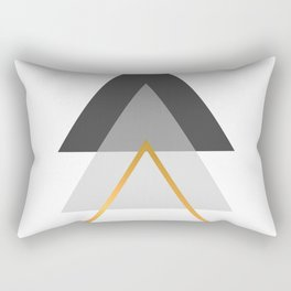 Triangles art, Black, white and gold Rectangular Pillow