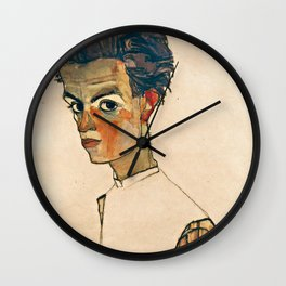 Egon Schiele - Self Portrait With Striped Shirt Wall Clock