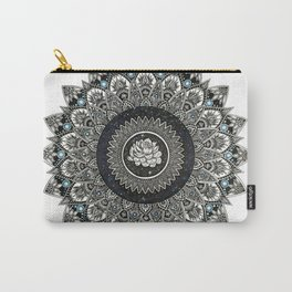 Black and White Flower Mandala with Blue Jewels Carry-All Pouch