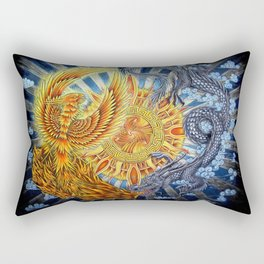 Chinese Phoenix and Dragon Mandala Rectangular Pillow