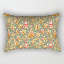 Gingerbread Christmas Pattern (Color) Rectangular Pillow