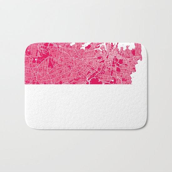 Sydney map raspberry Bath Mat