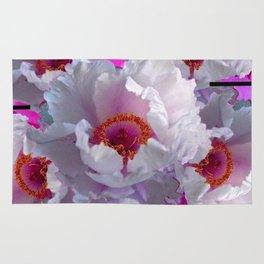 BUTTERFLIES  WHITE TREE PEONY FLOWERS  BURGUNDY ART Rug
