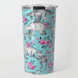 Dinosaurs and Roses - turquoise blue Travel Mug