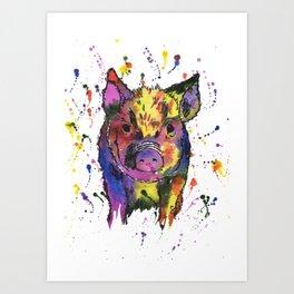 Percy the Rainbow Pig Art Print