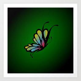 Mosaic Butterfly on Emerald Green Art Print