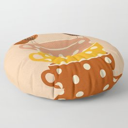 Birds and Teacups Floor Pillow
