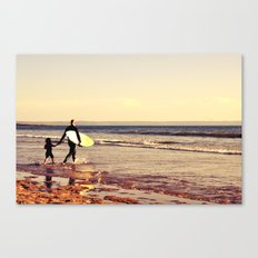Father and son surfing colour Canvas Print