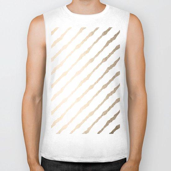 Simply Diagonal Stripes in White Gold Sands on White Biker Tank