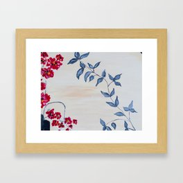 Red orchids and leaves Framed Art Print
