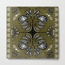 Tribal Paisley Black Green White Metal Print