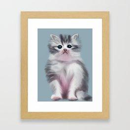 Cute Grey Kitten Framed Art Print