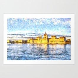 Budapest River Danube Sunset Art Art Print