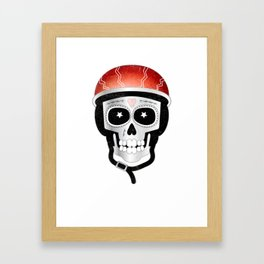 Halloween Cyclist Sugar Skull Framed Art Print