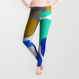 Mid Century Modern Abstract Minimalist Fun Colorful Shapes Marine Green Retro Vintage Fun Shapes Leggings